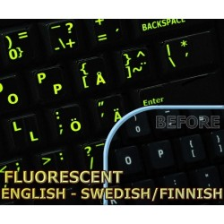 Glowing fluorescent Swedish/Finnsh - English keyboard sticker