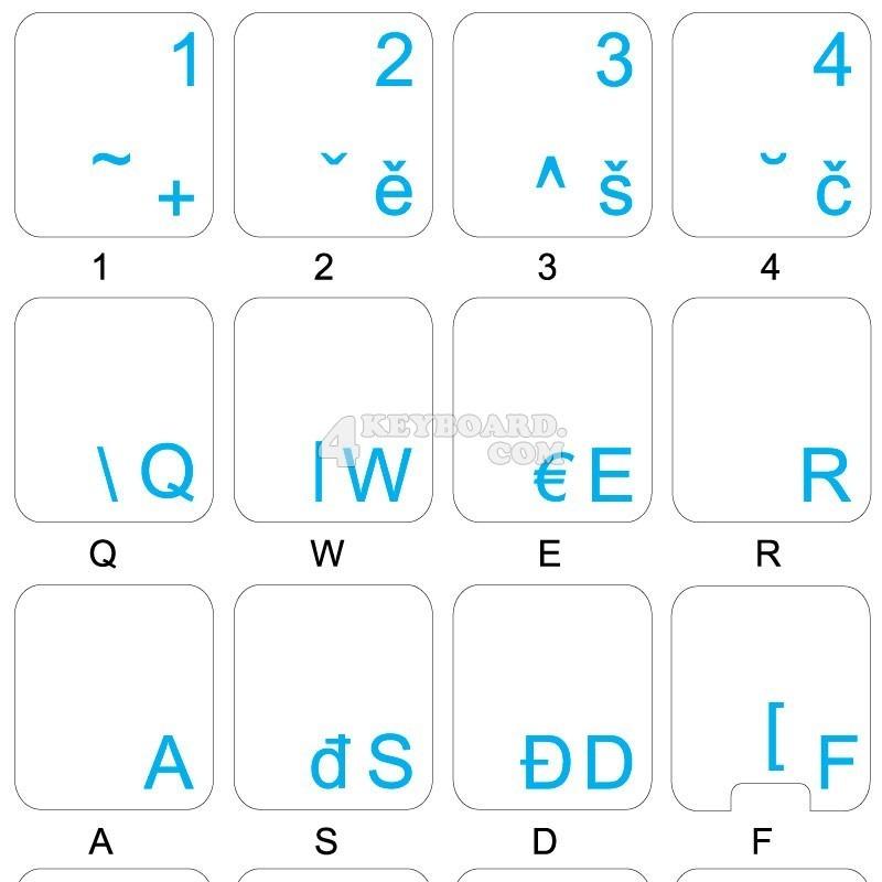 Czech transparent keyboard stickers