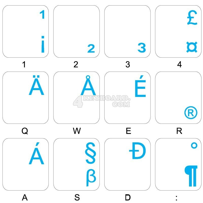 14X14 Dutch Belgian Keyboard Labels ON Transparent Background with Orange Lettering