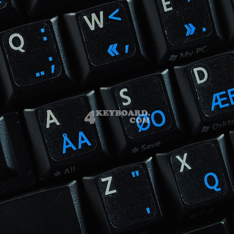 PROGRAMMER DVORAK KEYBOARD STICKER WITH BLUE LETTERS