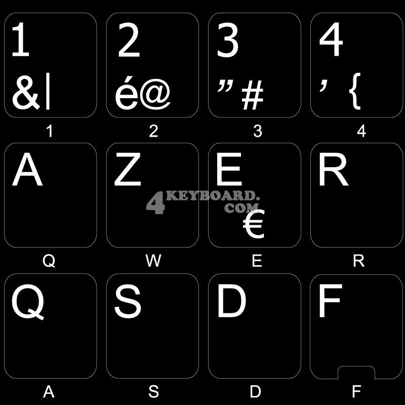 Belgian French non-transparent keyboard stickers