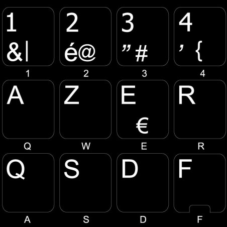 REPLACEMENT BELGIAN FRENCH KEYBOARD STICKER ON BLACK BACKGROUND