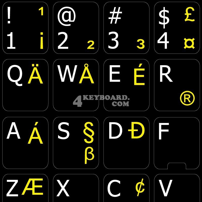English US International non transparent keyboard stickers