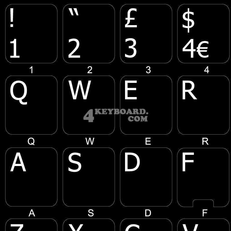 English UK non transparent keyboard stickers
