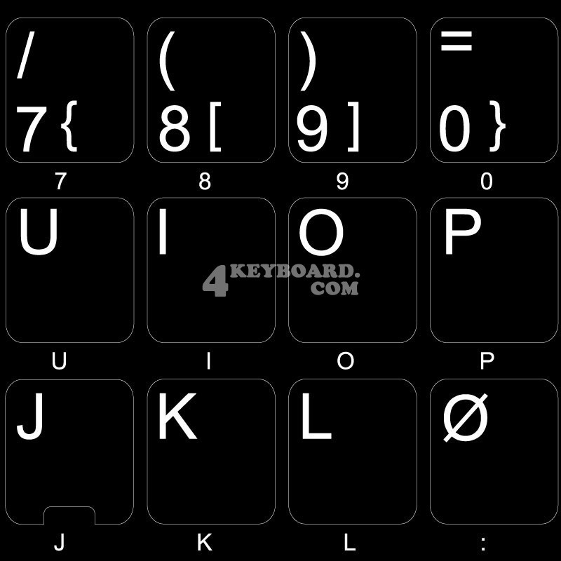 Norwegian non transparent keyboard  stickers