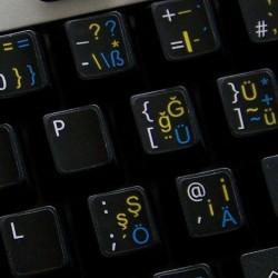 German - TurkishQ - English UK non transparent keyboard  stickers