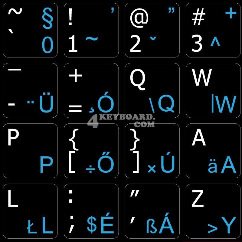 Hungarian - English non transparent keyboard stickers