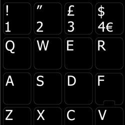 English UK with additional key non transparent keyboard stickers