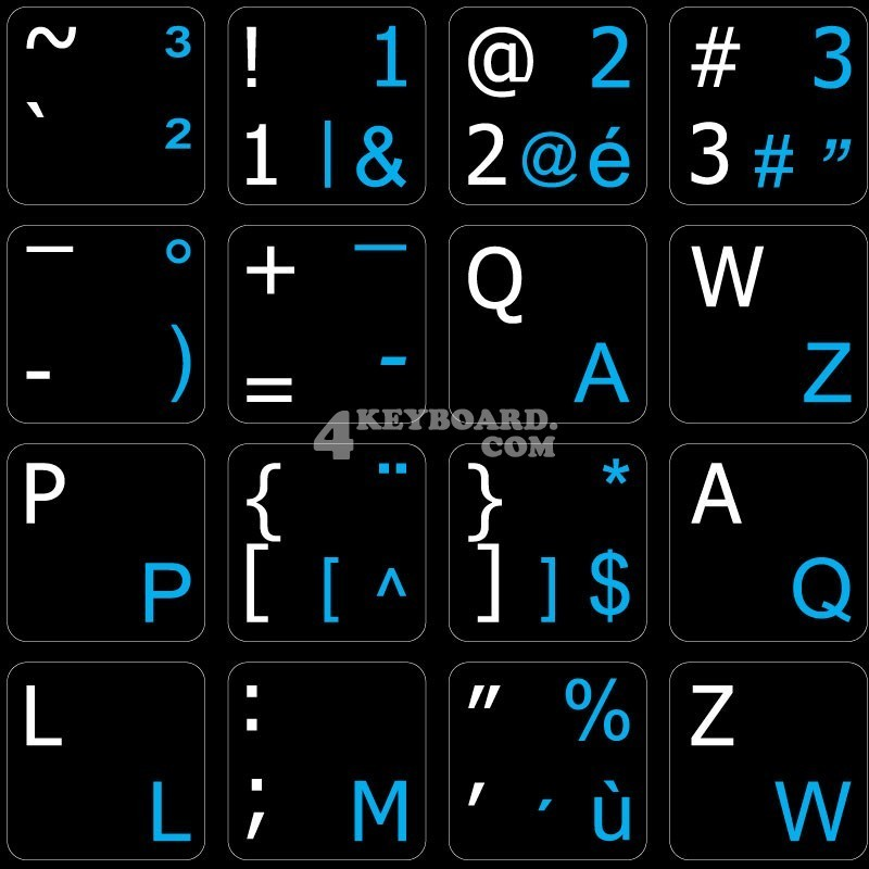 French Belgian - English non-transparent keyboard stickers