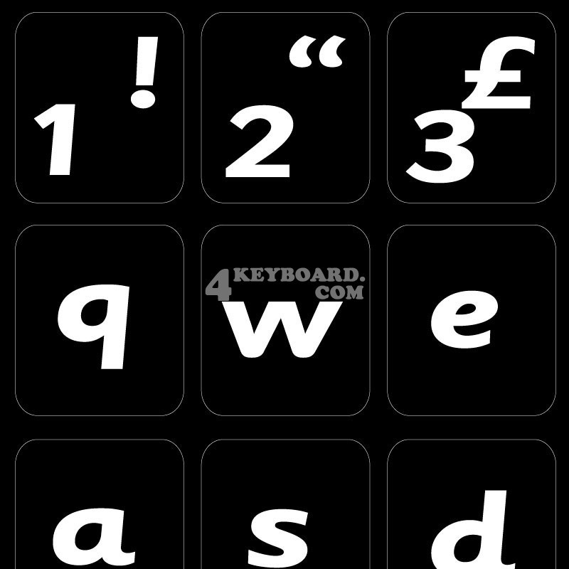 English UK (Sassoon) non transparent keyboard stickers