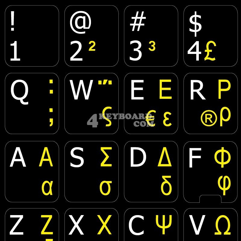GERMAN-TURKISH Q-ENGLISH UK KEYBOARD STICKER NON TRANSPARENT WHITE BACKGROUND