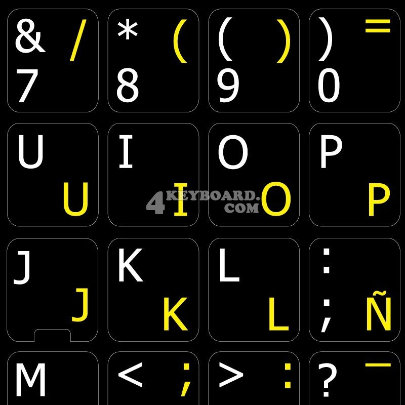 Spanish traditional English non transparent keyboard stickers