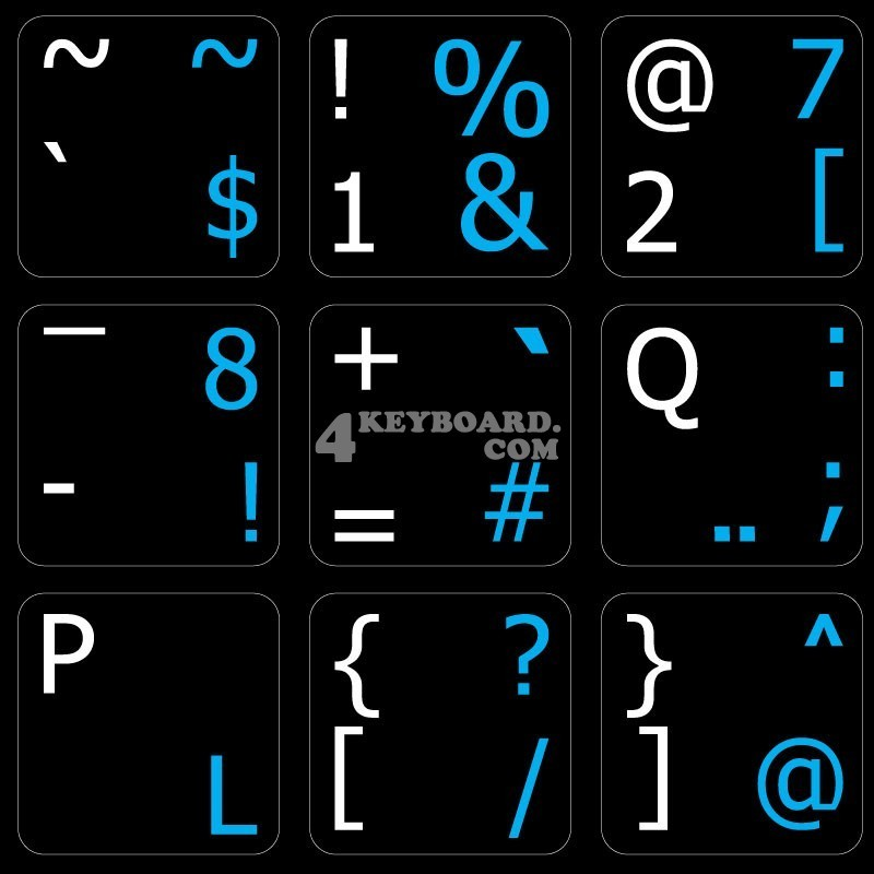 Programmer Dvorak English non-transparent keyboard  stickers
