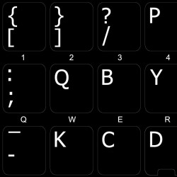 Dvorak LEFT-HANDED non-transparent keyboard  stickers
