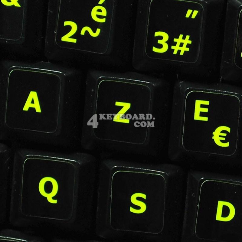 Glowing fluorescent French AZERTY keyboard sticker