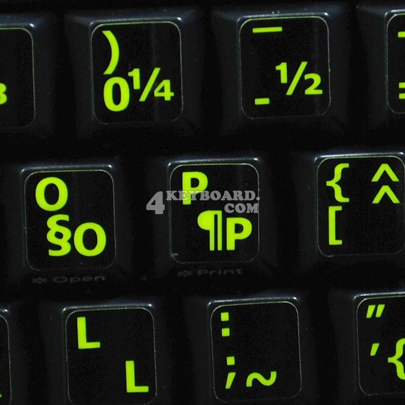 Glowing fluorescent French QWERTY - English keyboard sticker