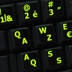Glowing fluorescent French Belgian English keyboard sticker
