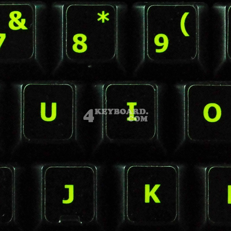Glowing fluorescent English US keyboard sticker