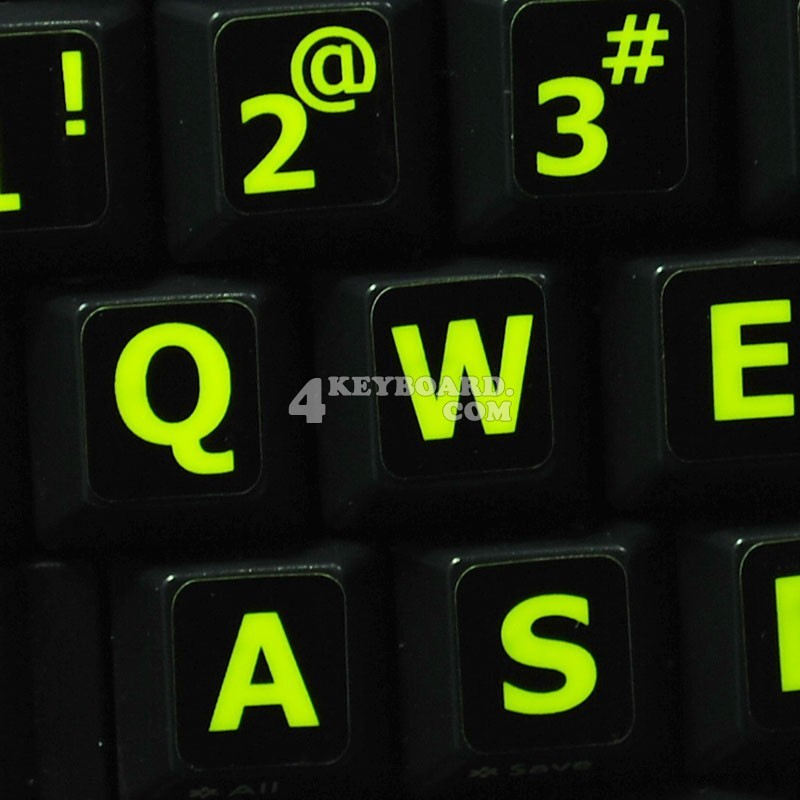 c051490d055 Glowing fluorescent English US Large Lettering keyboard sticker