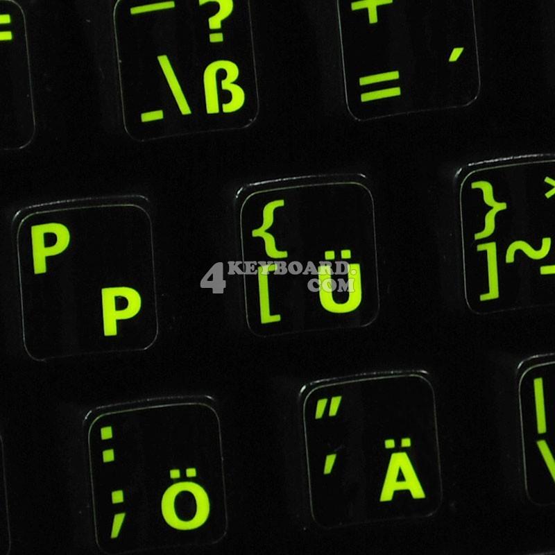 Glowing fluorescent German English keyboard sticker