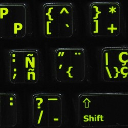 Glowing fluorescent Spanish English keyboard sticker