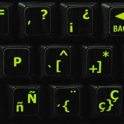 Glowing fluorescent Spanish keyboard sticker