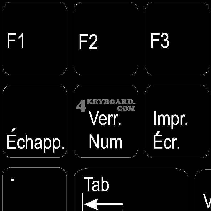 Function keys French language non-transparent keyboard sticker