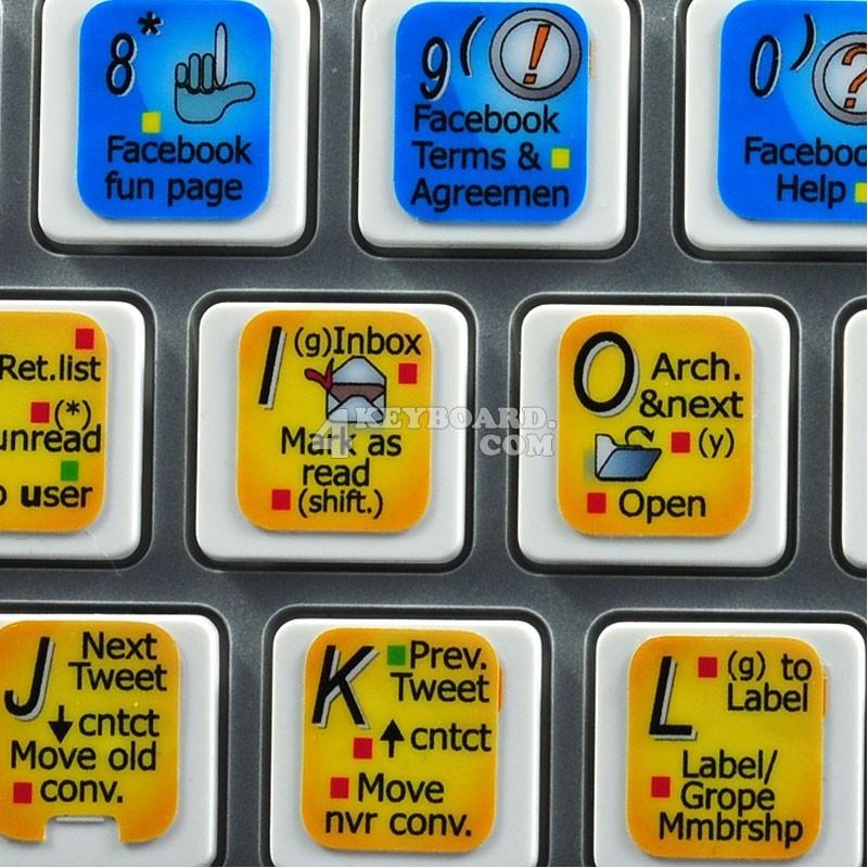 Gmail, Facebook, Twitter keyboard sticker