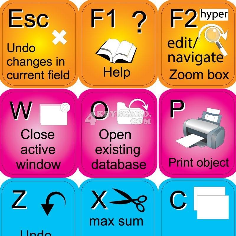 Microsoft Access keyboard sticker