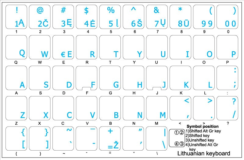 Lithuanian Keyboard Labels ON Transparent Background with Yellow Lettering 14X14