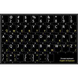15x15 Size English Non-Transparent Keyboard Stickers White Background Dvorak