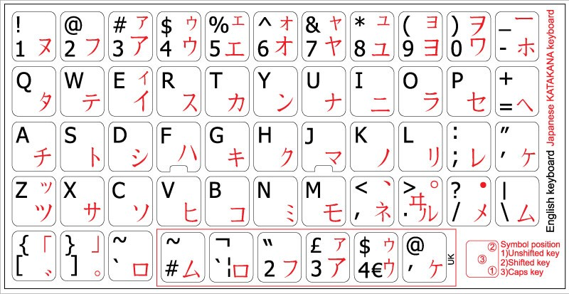 Japanese Katakana English non transparent keyboard stickers