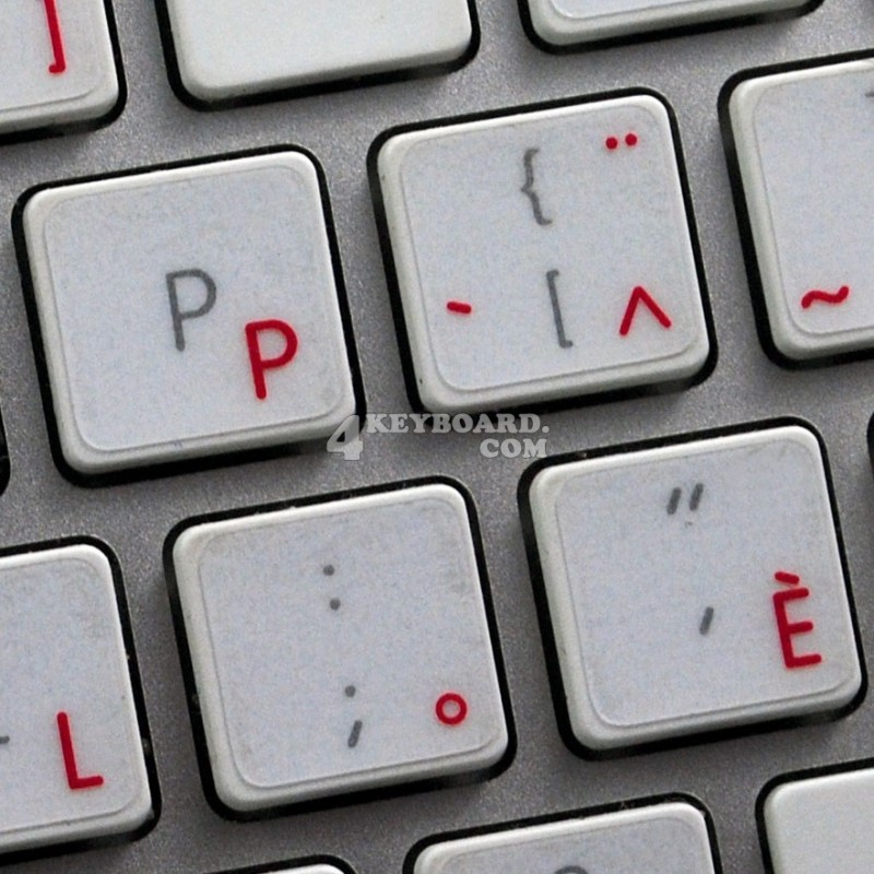 TURKISH Q KEYBOARD STICKER WITH RED LETTERING ON TRANSPARENT BACKGROUND FOR DESKTOP LAPTOP AND NOTEBOOK
