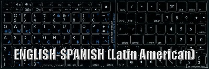 SPANISH LATIN AMERICA ENGLISH KEYBOARD STICKERS BLACK