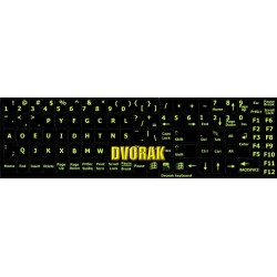 Glowing fluorescent Dvorak keyboard sticker