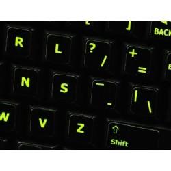 Glowing fluorescent Dvorak keyboard sticker