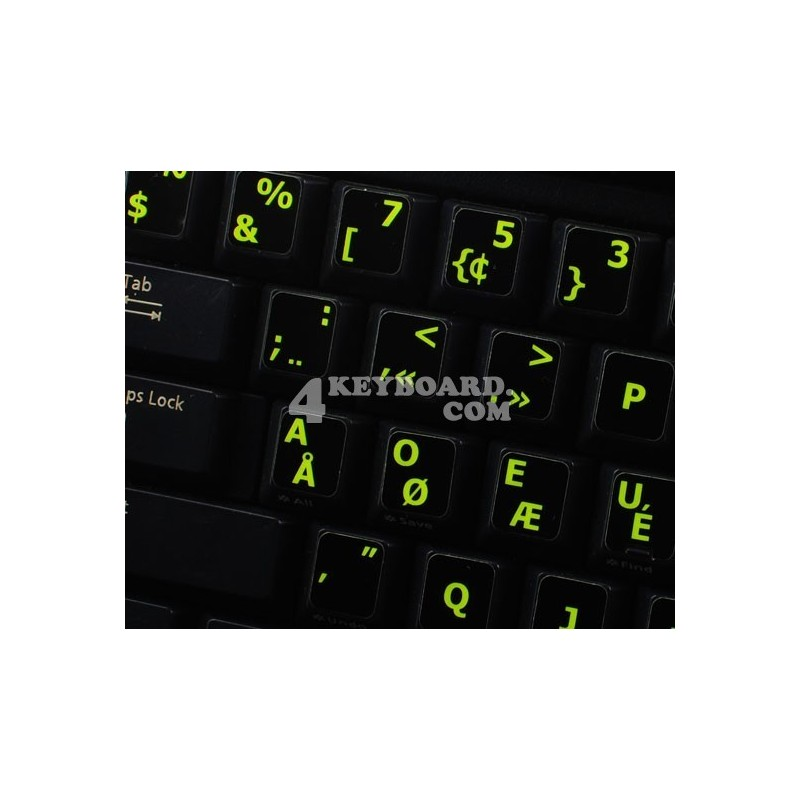 Glowing fluorescent Programmer Dvorak keyboard sticker