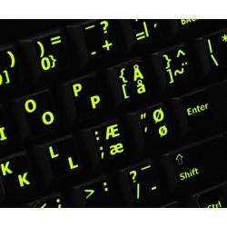 Glowing fluorescent Danish English keyboard sticker