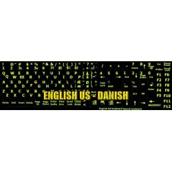 Glowing fluorescent Danish English keyboard sticker