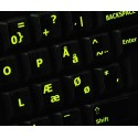 Glowing fluorescent Danish keyboard sticker