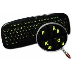 Glowing fluorescent Danish keyboard sticker