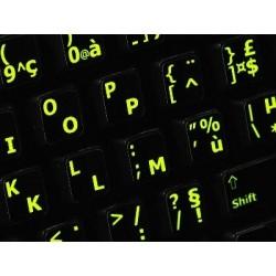 Glowing fluorescent French AZERTY English keyboard sticker