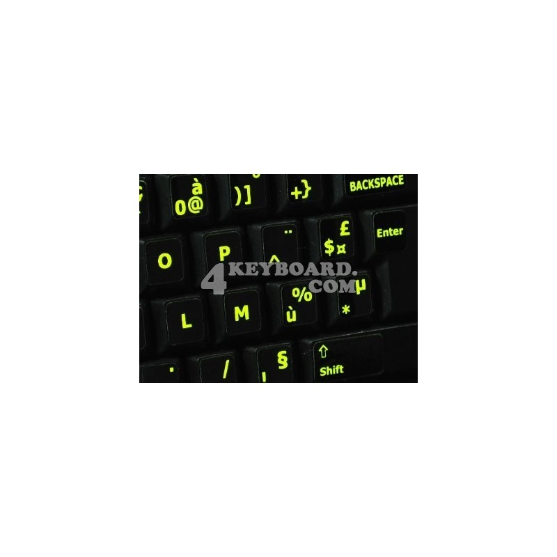 Glowing fluorescent French AZERTY keyboard sticker