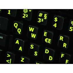 Glowing fluorescent German English keyboard sticker