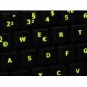 Glowing fluorescent German keyboard sticker