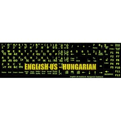 Glowing fluorescent Hungarian English keyboard sticker