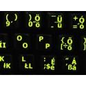 Glowing fluorescent Hungarian English keyboard sticker