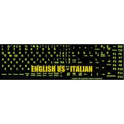 Glowing fluorescent Italian English keyboard sticker