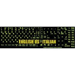 Glowing fluorescent Italian English keyboard sticker