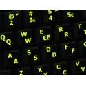 Glowing fluorescent Norwegian English keyboard sticker